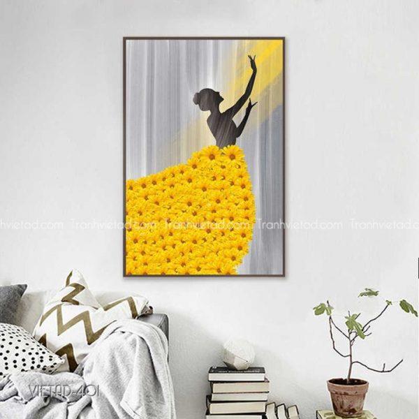 tranh cô gái váy hoa hướng dương