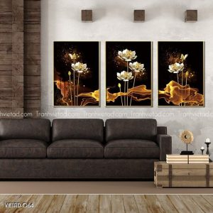 Tranh hoa sen trắng 3D