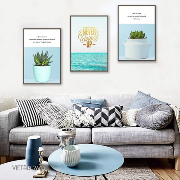tranh biển và hoa sen đất