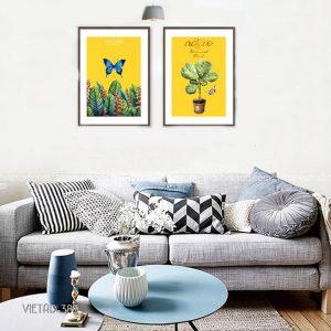 tranh bướm và cây