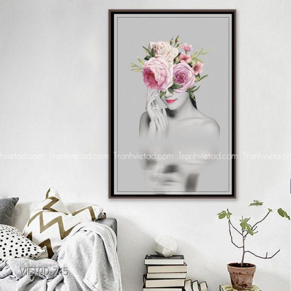 tranh cô gái hoa hồng