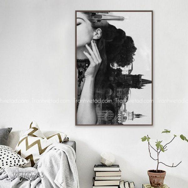 tranh cô gái thành phố màu trắng đen