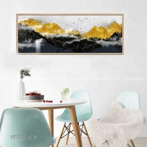 tranh đồi núi vàng