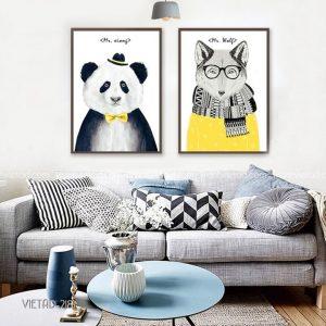 Tranh gấu trúc và cáo