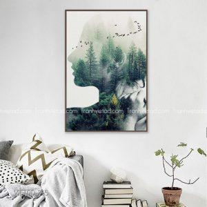 tranh hình tượng cô gái rừng cây
