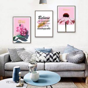 tranh hoa màu hồng