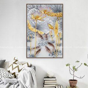 Tranh hoa sen vàng cá chép