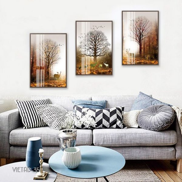 Tranh hươu rừng cây