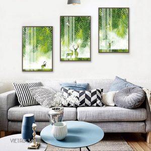 Tranh hươu cây xanh