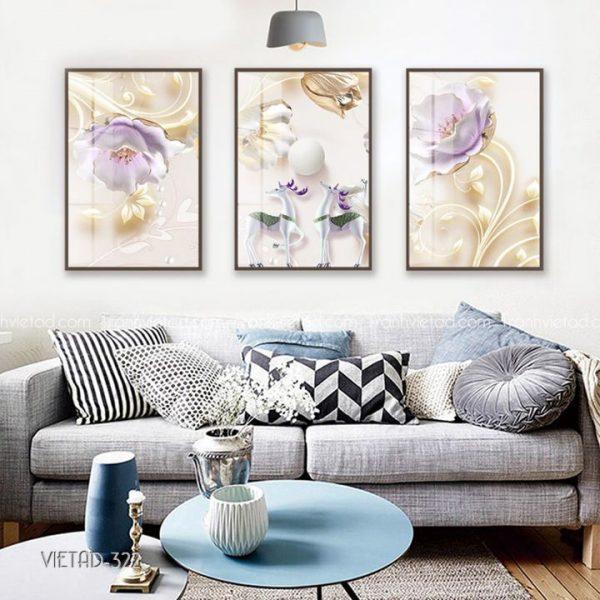 Tranh hươu và hoa 3D