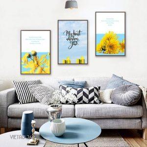 Tranh slogan hoa cúc vàng