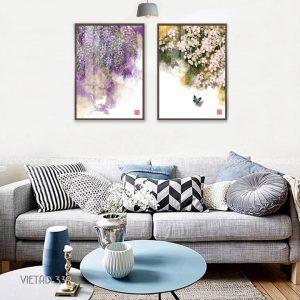 tranh tán cây trổ hoa