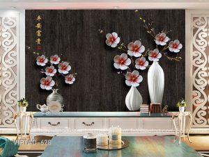 Tranh dán tường 3d bình hoa VIETAD-628