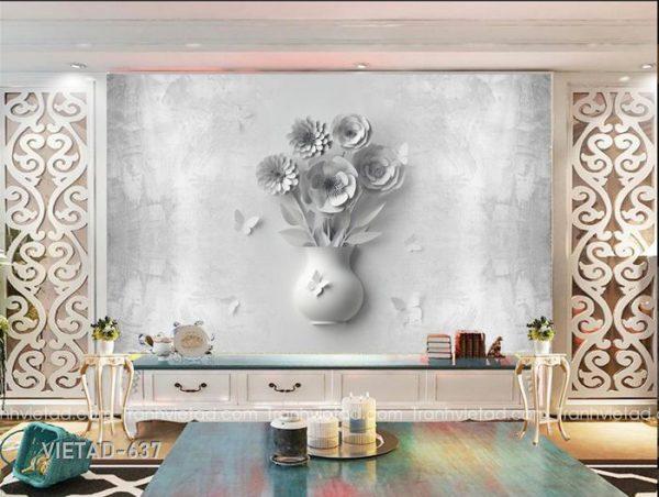 Tranh dán tường 3d bình hoa VIETAD-637