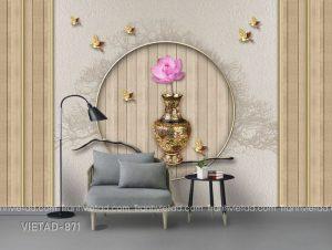 Tranh dán tường 3d bình hoa VIETAD-871