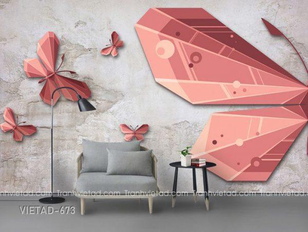 Tranh dán tường 3d bươm bướm VIETAD-673