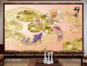 Tranh dán tường 3d cá chép hoa sen VIETAD-829
