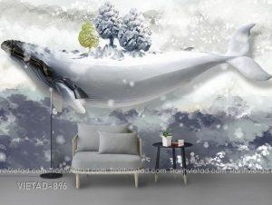 Tranh dán tường 3d cá voi VIETAD-896