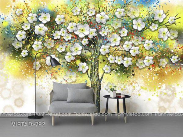 Tranh dán tường 3d cây hoa VIETAD-782