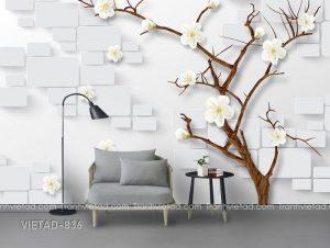 Tranh dán tường 3d cây hoa VIETAD-836