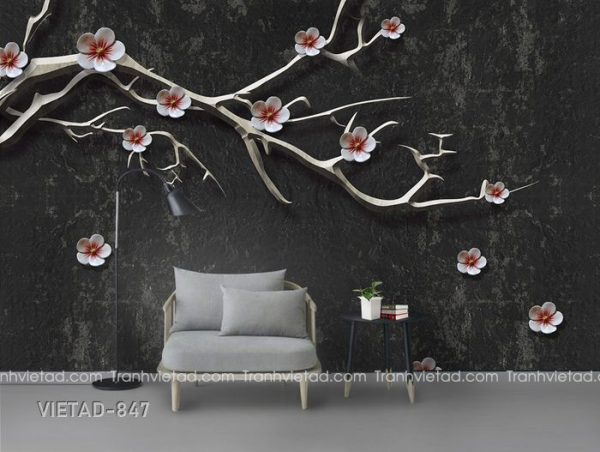 Tranh dán tường 3d cây hoa VIETAD-847