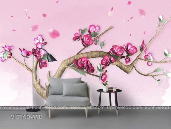 Tranh dán tường 3d cây hoa đào VIETAD-790