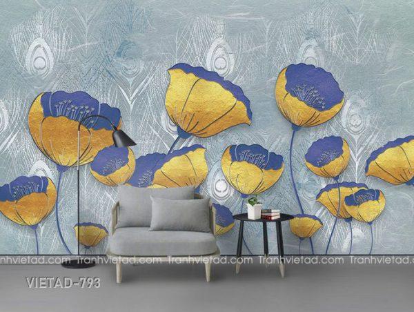 Tranh dán tường 3d hoa VIETAD-793