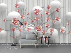 Tranh dán tường 3d hoa VIETAD-794
