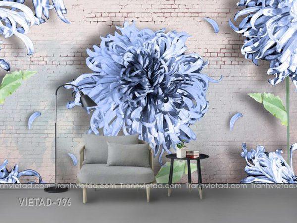 Tranh dán tường 3d hoa VIETAD-796