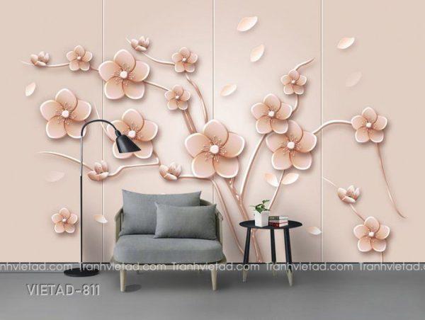 Tranh dán tường 3d hoa VIETAD-811