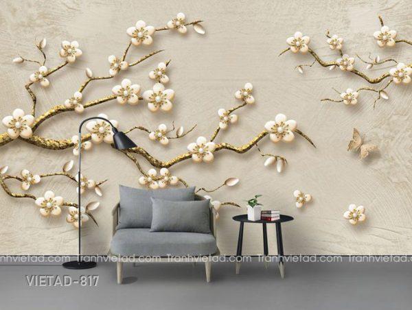 Tranh dán tường 3d hoa VIETAD-817