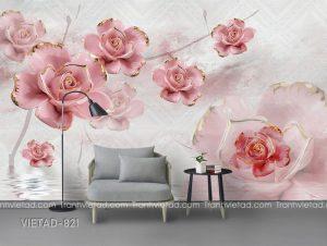 Tranh dán tường 3d hoa VIETAD-821