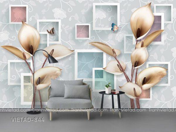 Tranh dán tường 3d hoa VIETAD-844