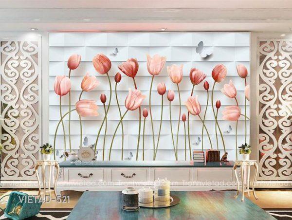 Tranh dán tường 3d hoa tulip VIETAD-521