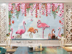 Tranh dán tường 3d hồng hạc VIETAD-659