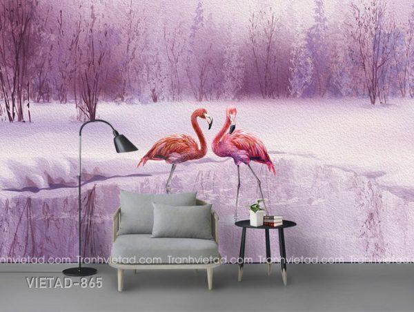 Tranh dán tường 3d hồng hạc VIETAD-865
