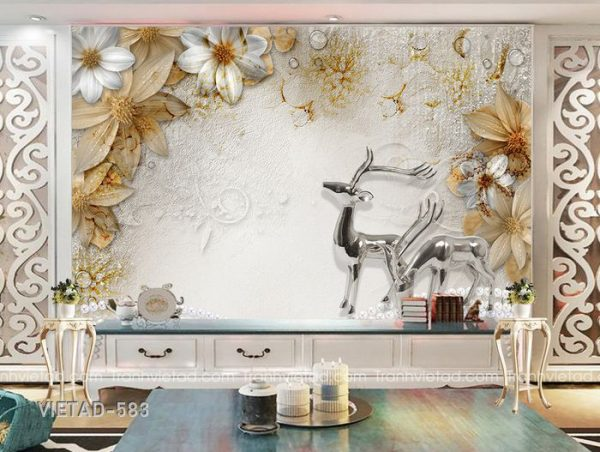 Tranh dán tường 3d hươu hoa VIETAD-583