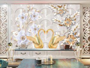 Tranh dán tường 3d trang sức thiên nga hoa VIETAD-1297