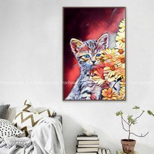 Tranh vẽ mèo hoa