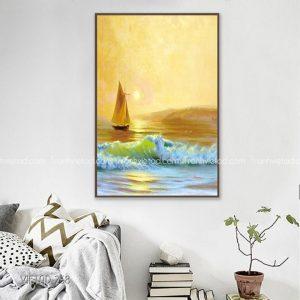 Tranh vẽ thuyền và biển