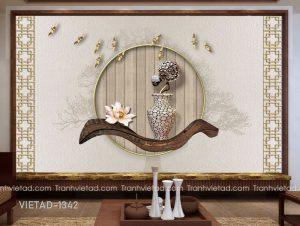 Tranh Dán Tường 3D Bình Hoa Trừu Tượng VIETAD-1342