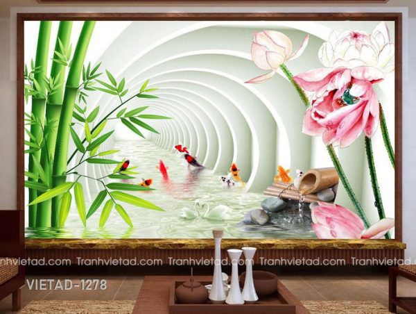 Tranh Dán Tường 3D Cá Chép Và Hoa Sen VIETAD-1278