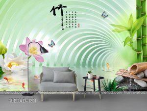 Tranh dan tuong 3d ca chep hoa sen VIETAD-1311