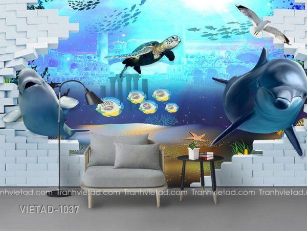 Tranh Dán Tường 3D Cá Heo VIETAD-1037
