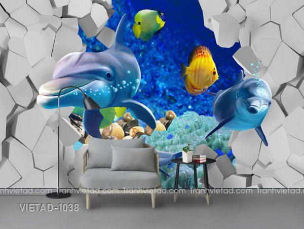 Tranh Dán Tường 3D Cá Heo VIETAD-1038