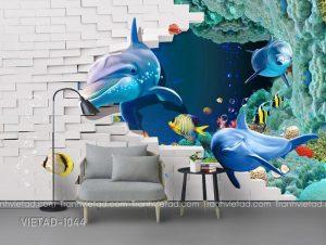 Tranh Dán tường 3D Cá Heo VIETAD-1044