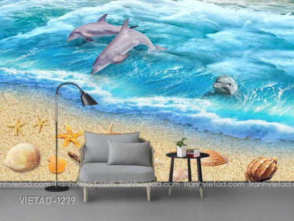 Tranh Dán Tường 3D Cá Heo Biển VIETAD-1279