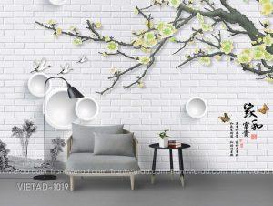 Tranh Dán Tường 3D Cành Hoa VIETAD-1019