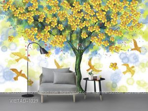 Tranh Dán Tường 3D Cây Hoa VIETAD-1029