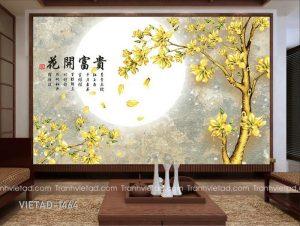 Tranh dan tuong 3d cay hoa moc lan VIETAD-1464